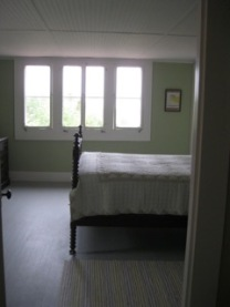 Anchorage, second floor double bedroom; windows look out on Eggemoggin Reach