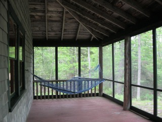 Cabin, screened porch with hammock