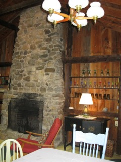 Cabin, the stone hearth in main room