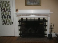The fireplace in the Anchorage living room